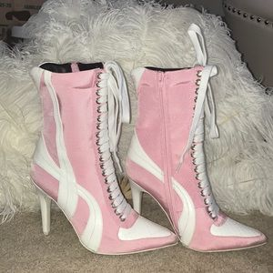 "Current Mood ""player slayer"" pink & white booties"